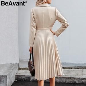 Image 4 - Женское длинное платье с отложным воротником BeAvant, элегантное однотонное Плиссированное офисное платье с длинным рукавом, шикарные вечерние платья на осень