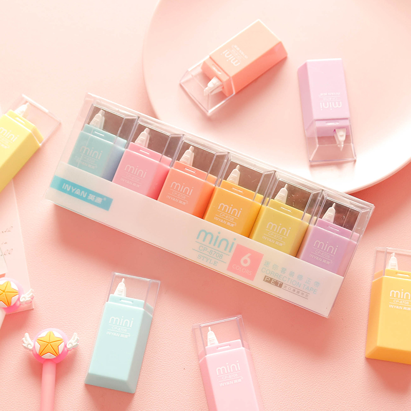 6pcs Solid Color White Out Correction Tape Mini Correction Supplies Kawaii Korean Sweet Stationery Large Capacity Students Use