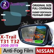 For Nissan X-Trail T31 T32 2008~2019 Full Cover Anti Fog Film Rearview Mirror Accessories X Trail XTrail Rogue 2014 2015 2019
