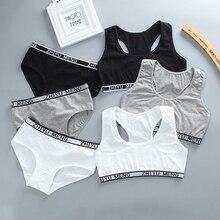 Panties-Set Sport-Training-Bra Underwear Cotton Lingerie Racerback Young-Girls Teen