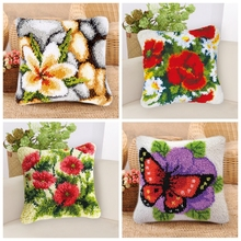 Flowers Smyrna Cushion Button Package Latch Hook Rug Carpet Embroidery Pillow Foamiran For Needlework Crochet Carpet Kits rainbow flower cushion button package smyrna needle for carpet embroidery everything for handmade latch hook rug do it yourself