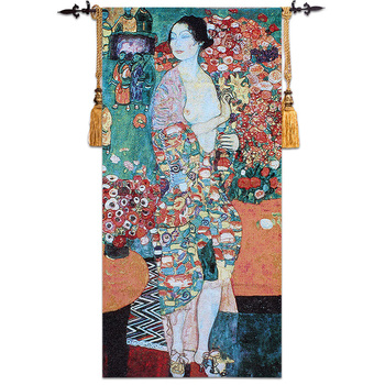 100% Cotton Jacquard BelgianTapestry House Decoration European Luxury Artistic Tapestry Gustav Klimt The Dancer 70*145 cm