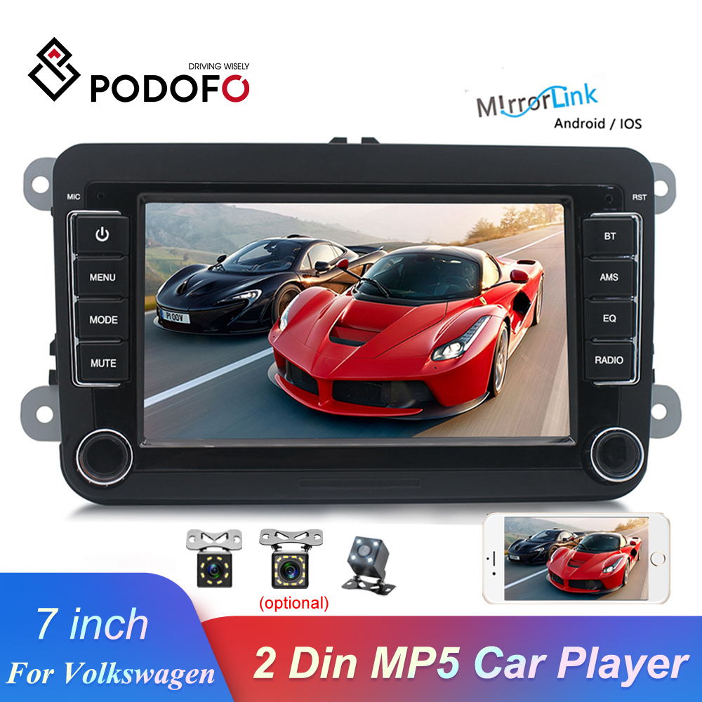 "Podofo 7"" 2 Din Car Radio Mirrorlink Bluetooth Auto Radio Stereo Touch Screen MP5 Player FM USB AUX For Volkswagen Autoradio