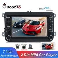Podofo 7 2 Din Car Radio Mirrorlink Bluetooth Auto Radio Stereo Touch Screen MP5 Player FM USB AUX For Volkswagen Autoradio