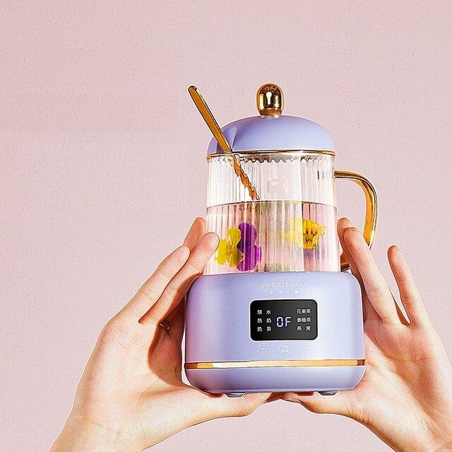 Bouilloire électrique Portable automatique 220V 400ML, Mini marmite chauffante en verre, bouteille de service de santé pour la maison 3