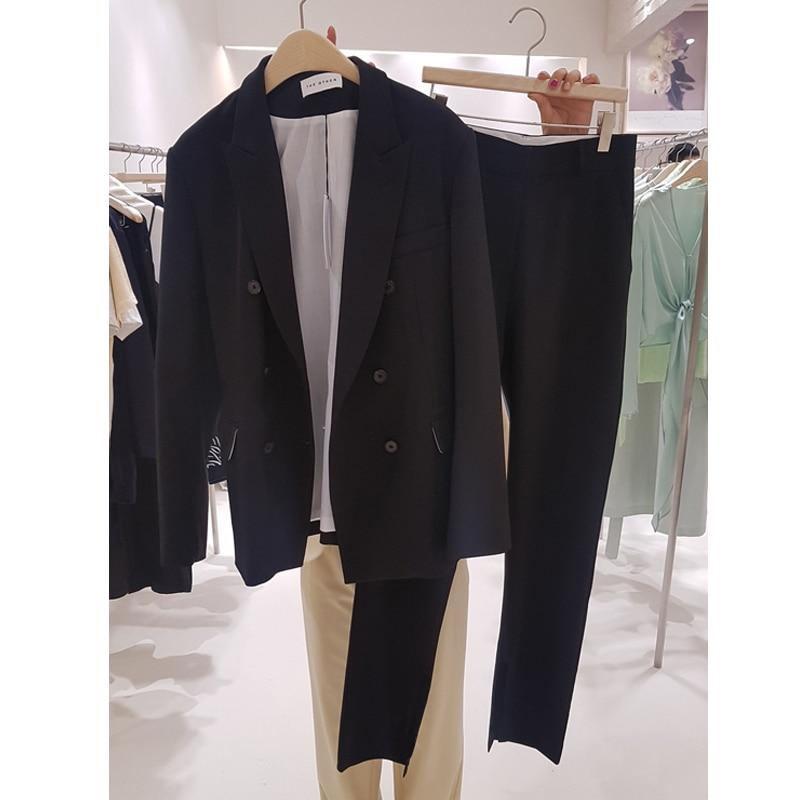 Fashion suit female 2019 spring new long paragraph suit jacket harem pants two sets of temperament loose casual women's clothes