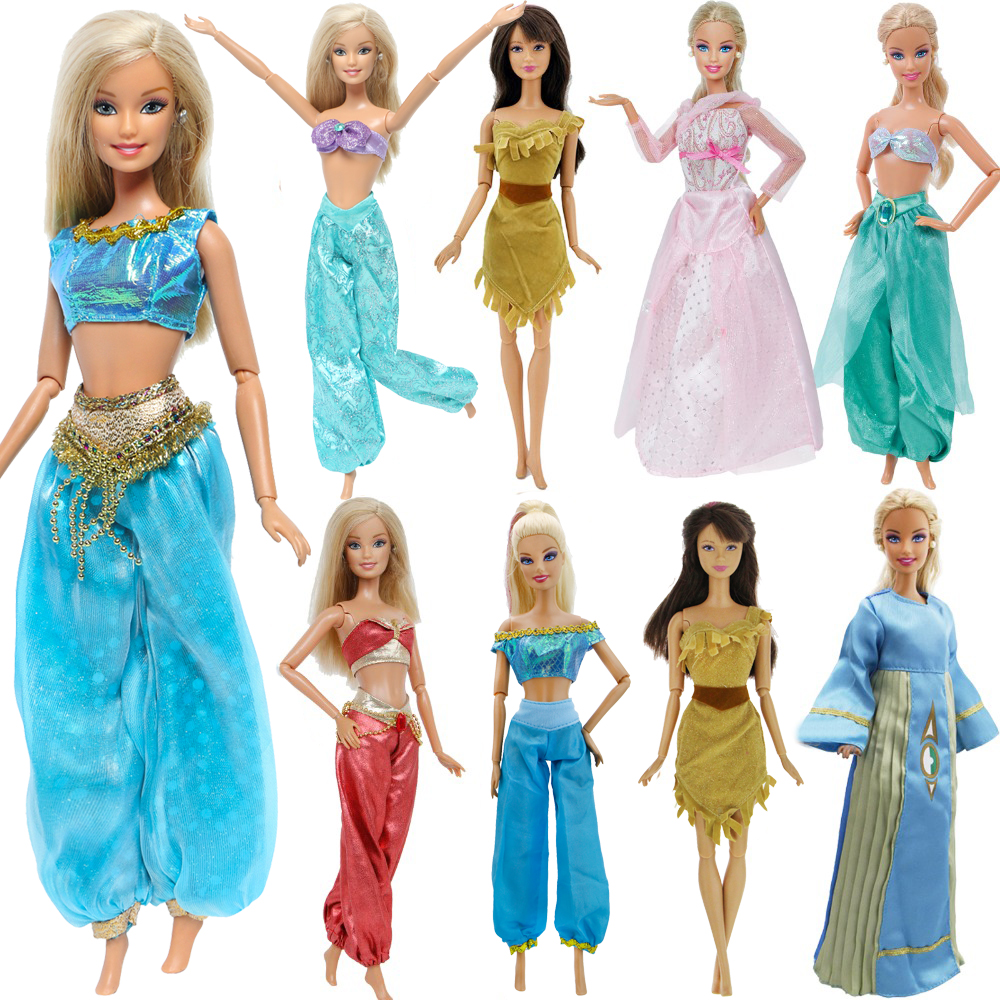 Handmade Fashion Doll Dress Copy Pocahontas Aladdin Jasmine Fairy Tale Princess Outfit Tops + Pants For Barbie Doll Accessories