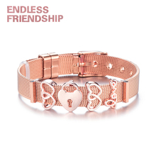 Endless Friendship Rose Gold Bracelet Charm Stainless Steel Mesh Women Bangle with DIY Heart Beads Bracelets Woman Gift