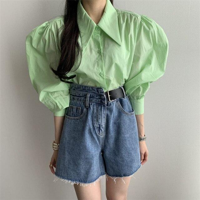 2020 Новое поступление стильная блузка рубашка корейский шик