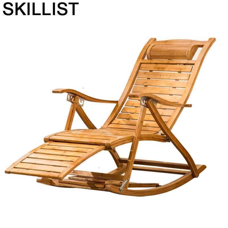 Lounge Balcony Furniture Rocking Folding Bed Bamboo Sillones Moderno Para Sala Sillon Reclinable Fauteuil Salon Recliner Chair