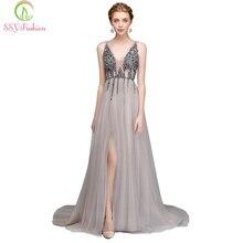 Ssyfashion novo vestido de noite de luxo sexy com decote em v sem costas beading alto split tule longo vestido de baile de formatura vestidos formais de festa personalizados