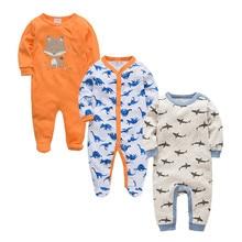 2019 ฤดูใบไม้ร่วงฤดูหนาว 3pcs เด็กทารก Roupa de bebes ทารกแรกเกิด Jumpsuit แขนยาวผ้าฝ้ายชุดนอน 3 6 9 12 เดือน Rompers เสื้อผ้าเด็ก