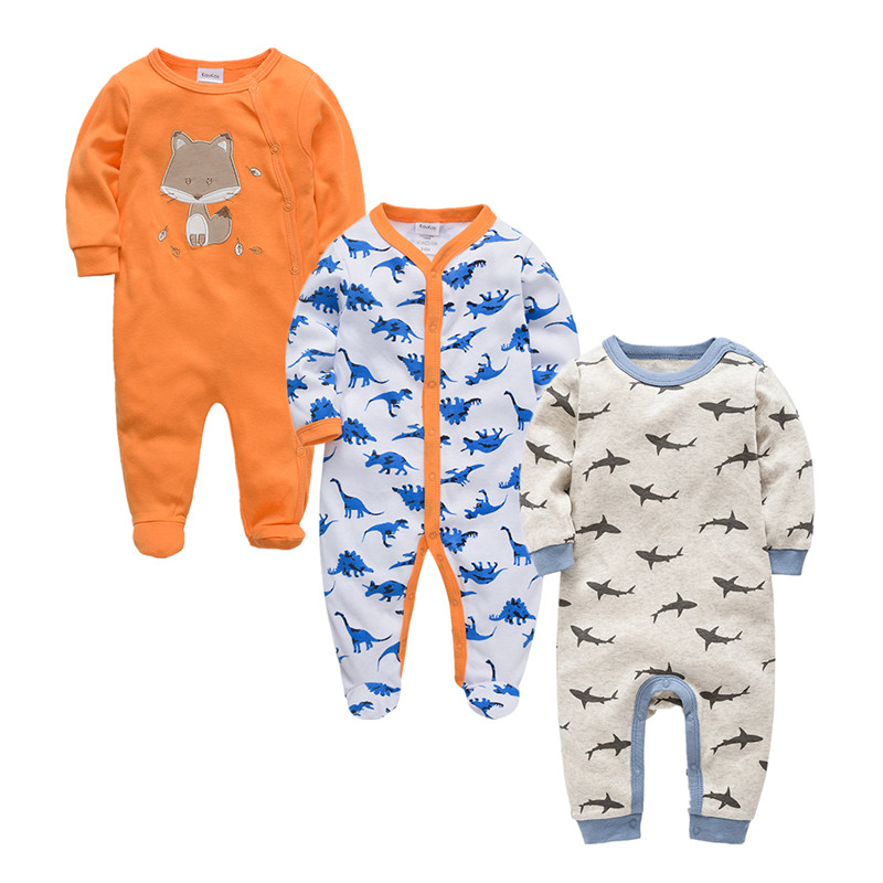 2019 Autumn Winter 3pcs Baby Boy roupa de bebes Newborn Jumpsuit Long Sleeve Cotton Pajamas 3 6 9 12 Months Rompers Baby Clothes-in Rompers from Mother & Kids