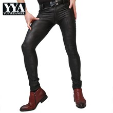 Summer Mens Sexy Skinny Pencil Pants Thin Stretchy Dark Camouflage Printed Long Trousers Punk Style Pu Leather Elastic Leggings