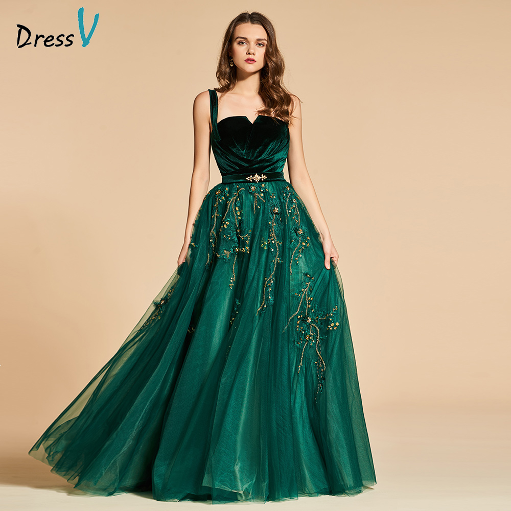 Dressv Green Long Evening Dress Elegant Spaghetti Strap Beading Zipper Up Wedding Party Formal Dress Lace Evening Dresses