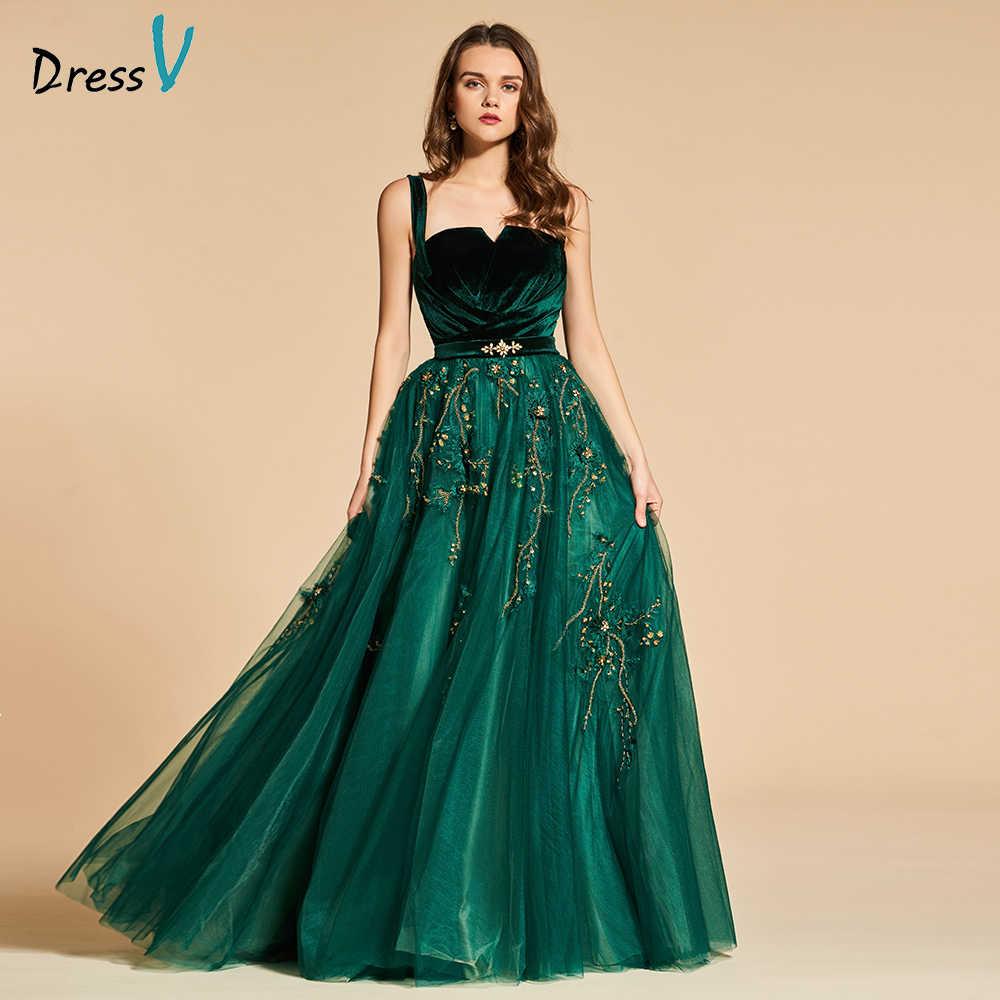 Dressv ירוק ארוך שמלת ערב אלגנטי ספגטי רצועת אגלי רוכסן עד מסיבת חתונה רשמי שמלת תחרה ערב שמלות
