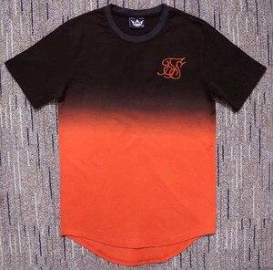 Image 2 - Zomer Katoen Zijde Siksilk T shirt Gradiënt Bedrukte T shirts Korte Mouwen Hip Hop T shirt Shirts Tops Mannen Longline Tees Met