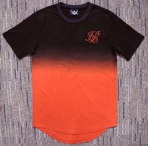 Image 2 - summer Cotton silk siksilk T shirt Gradient Printed T shirts  Short Sleeves Hip Hop T shirt shirts Tops Men Longline tees With