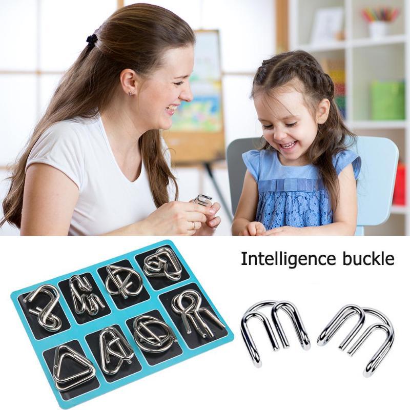 8pcs/set Wear-resistant Toys  Exquisite Processing Blue Metal Wire Puzzle IQ Mind Brain Teaser Puzzles Game For Adult Children
