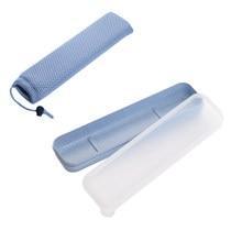 Pajita DE TRIGO portátil reutilizable con bolsa de almacenamiento, cubierta transparente práctica de viaje escolar, juego de vajilla, cubiertos duraderos para el hogar