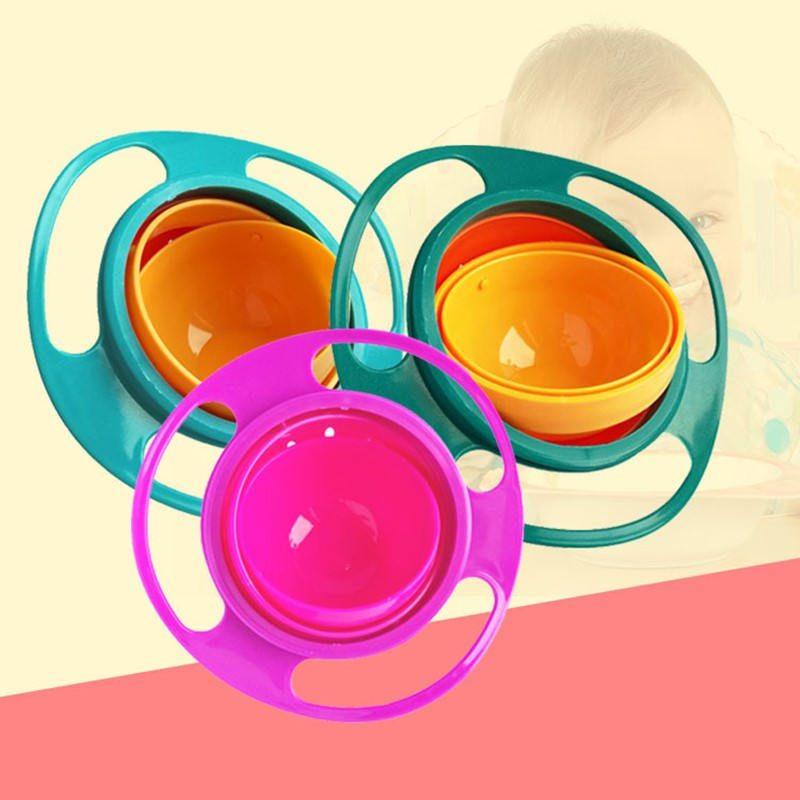 Baby Children Bowl 360 Rotate Rotating Balance Spill-proof Kid Dishes Solid Feeding Feeding Toy Dishes Cheap Stuff