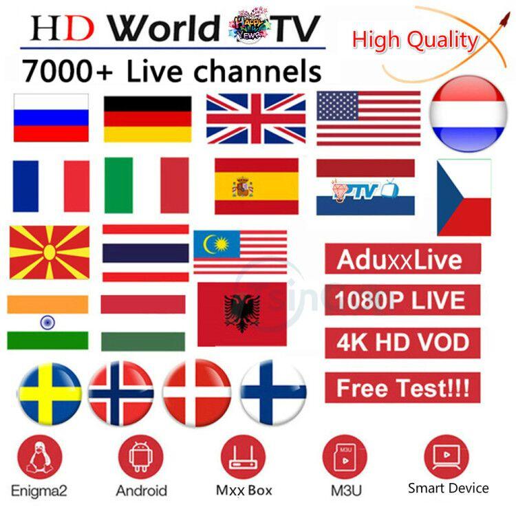 World IPTV Subscription France UK German Arabic Dutch Sweden French Spain Portugal IPT Xxx EX-YU Smart M3U 10000 Live Android