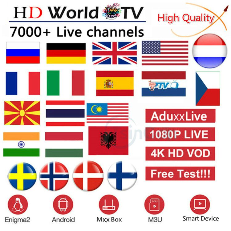 World IPTV Subscription  UK German Arabic Dutch Sweden  Spain Portugal IPT Xxx EX-YU Smart M3U 10000 Live Android
