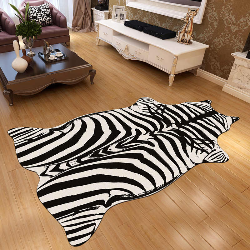 Moda zebra taklit kürk halı oturma odası yatak odası başucu yüzen pencere tam battaniye anti-skid kapı pedi ev dekorasyon