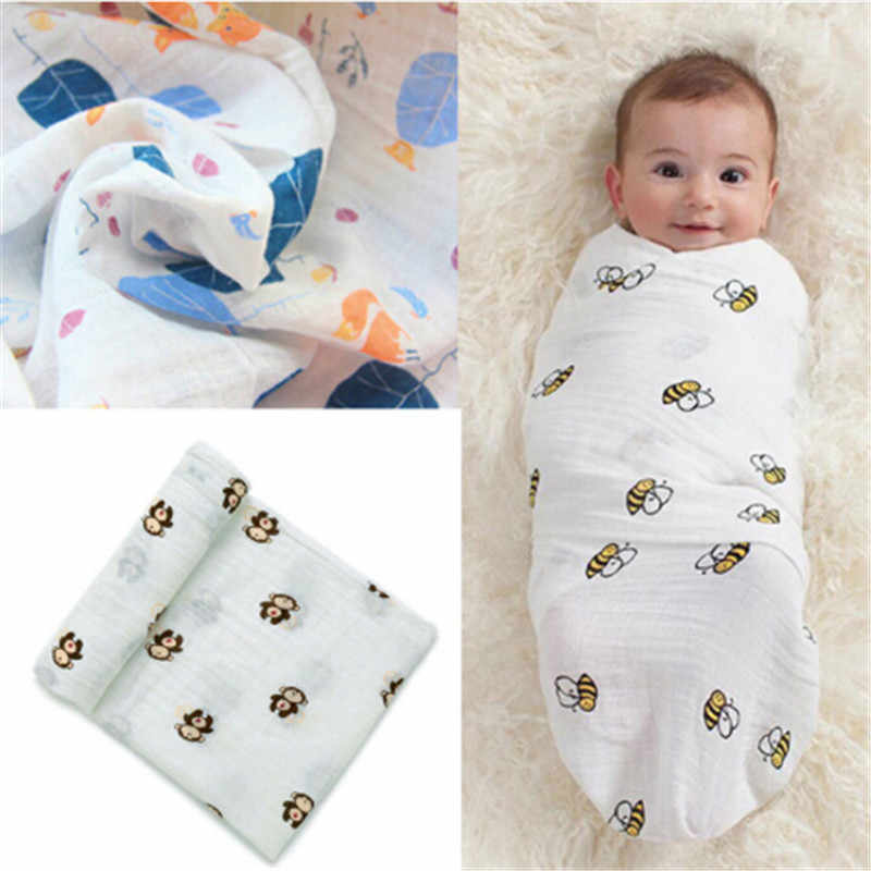 New Cute Nursery Infant Baby Swaddling Blanket Newborn Infant Cotton Swaddle Towel Soft Baby Printed Blanket 120*120cm