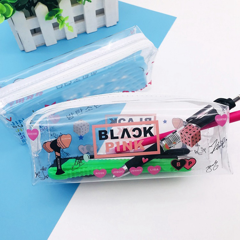 New Kpop BLACKPINK GOT7  SEVENTEEN Transparent Storage Bag Pink Pencil Case Size 18*6.5*5.5CM Hot Sale