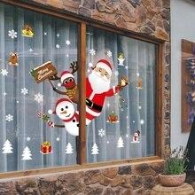 Мультяшные рождественские наклейки для витрины, съемные Санта Клаус Снеговик, домашний декор, наклейка, клей, ПВХ, на год, стеклянная Фреска