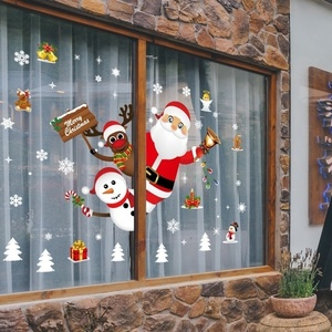Image 1 - Cartoon Christmas Stickers for Window Showcase Removable Santa Clause Snowman Home Decor Decal Adhesive PVC New Year Glass Mural
