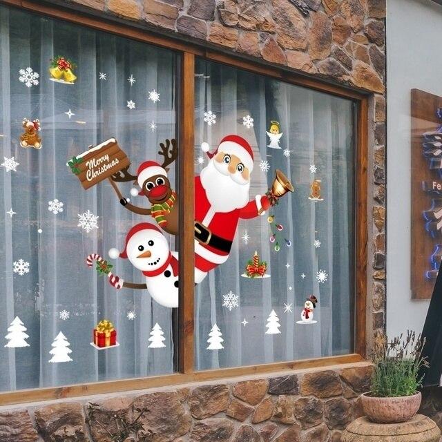 Cartoon Weihnachten Aufkleber für Fenster Schaufenster Abnehmbare Santa Klausel Schneemann Wohnkultur Aufkleber Adhesive PVC Neue Jahr Glas Wandbild