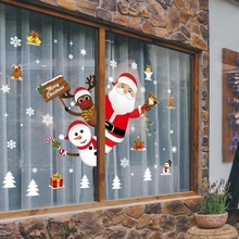 Cartoon naklejki świąteczne na witryna okienna wymienny święty mikołaj Snowman naklejki dekoracyjne do domu klej pcv nowy rok szklany Mural