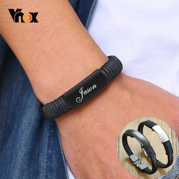 Vnox Personalized Leather Bracelets for Men Smooth Stainless Steel ID Bangle Casual Sport Wristband Custom Birthday Gift vnox customize name quotes leather bracelets for men glossy stainless steel layered braided bangle personalized dad husband gift