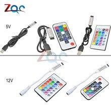 DC 5V 12V Вольт цветная(RGB) ИК RF пульт дистанционного управления Беспроводной USB Светодиодные ленты светильник 3/17/24-кнопочный пульт дистанционного управления для RGB SMD 3528 5050 Светодиодные ленты