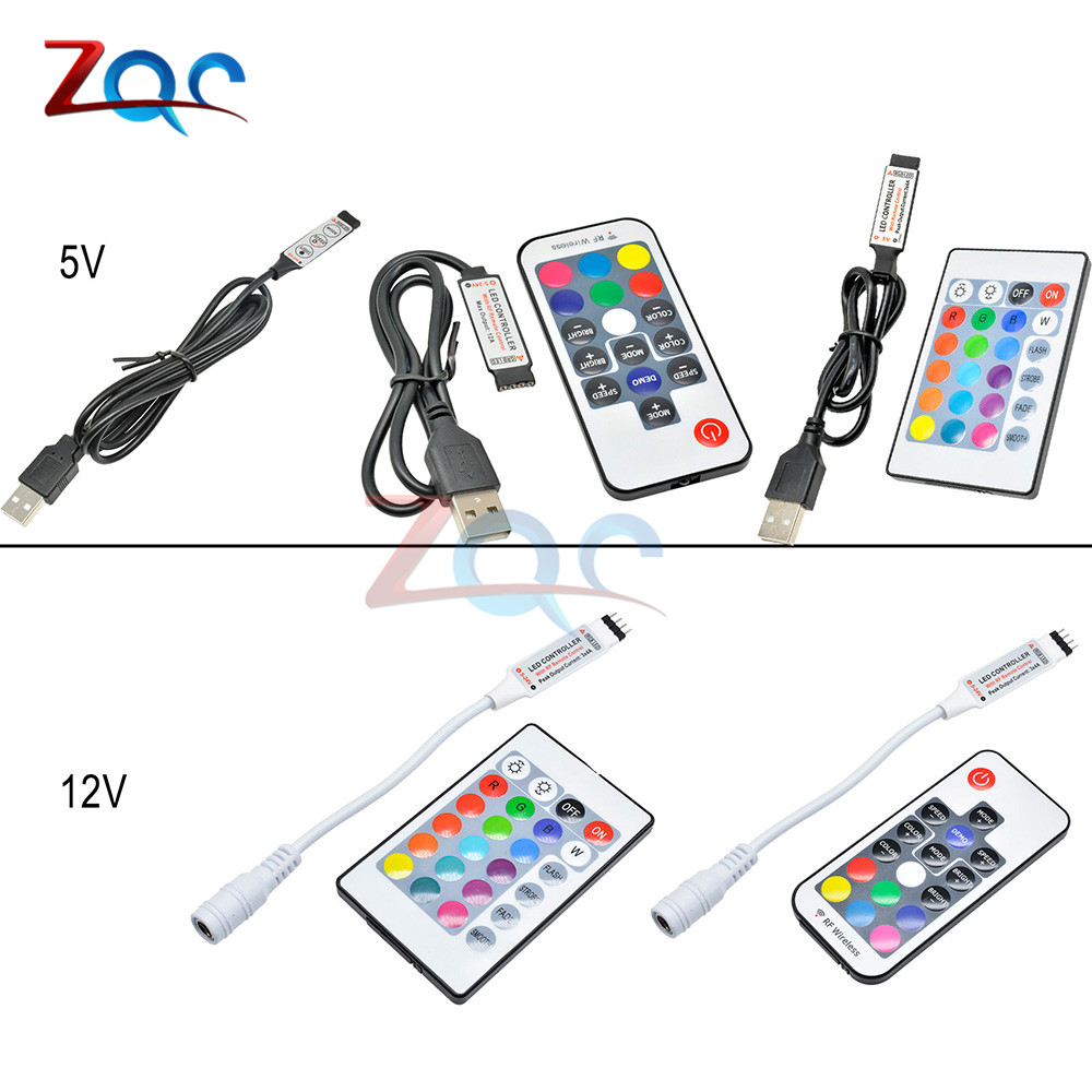 DC 5V 12V Volt RGB USB IR RF Remote Controller Wireless USB LED Strip Light 3/17/24 Keys Remote For RGB SMD 3528 5050 LED Strip