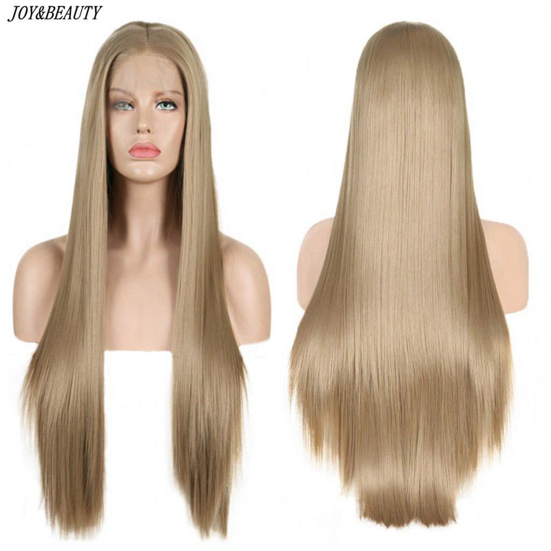 JOY&BEAUTY  Long Straight Wigs Brown Synthetic Wigs For Women Natural Handline Middle Part Wig Heat Resistant Fiber