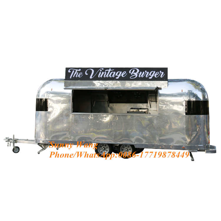 Bbq&burger&coffee Catering Airstream Stainless Steel Mobile Fast Food Truck Design For Sale