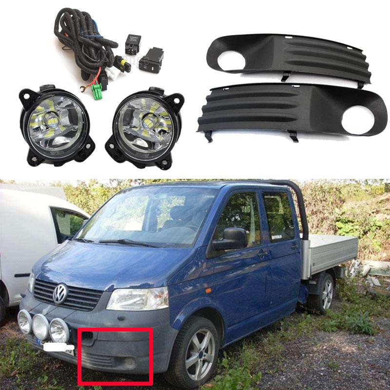 Fog Lights For VW Transporter Multivan Caravelle T5 2003-2010 LED Fog Light Halogen Foglights Grille Wiring Harness Switch Kit
