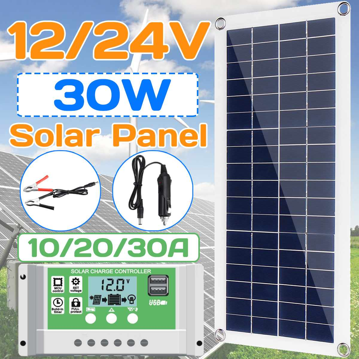 30W 12V Solar Panel Dual USB Output Solar Cells Poly Solar Panel 10/20/30A Controller For Car Yacht Battery Boat Charger