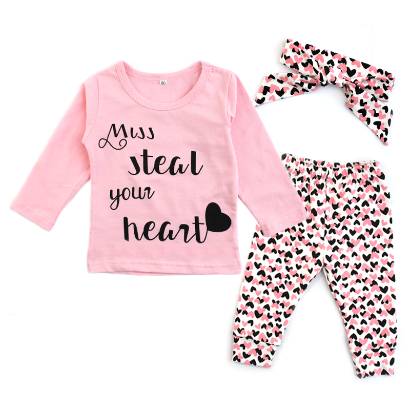 Newborn Baby Girl Clothes Cotton Infant Toddler Letter Print Pink T-shirt Tops Love Print Pants Headband 3 Pcs Baby Clothing Set