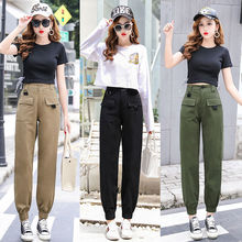 High waist pants camouflage loose joggers women army harem c