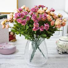 1 Bouquet Artificial 27 Heads Fake Roses Faux Silk Hybrid Flowers Home and Wedding Decor 9 Branches Party