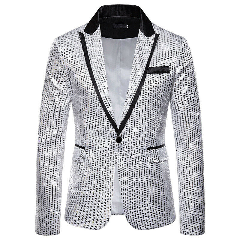 <font><b>Mens</b></font> <font><b>Sequins</b></font> Patchwork Suit <font><b>Blazer</b></font> <font><b>Jacket</b></font> 2019 Brand New Male Slim DJ Club Stage One Button <font><b>Blazer</b></font> Man Formal Wedding image
