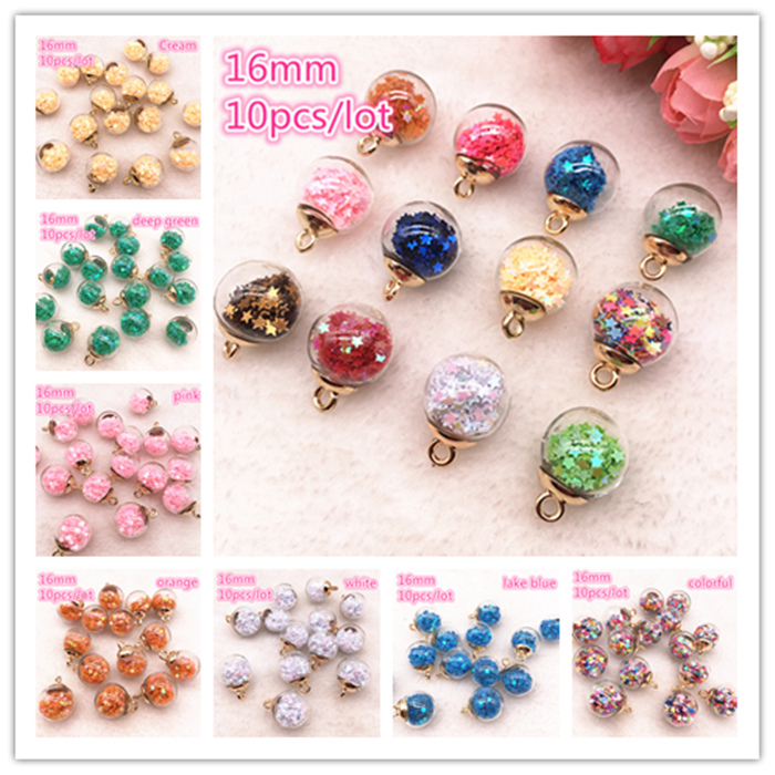 New 10pcs 16mm Colorful Transparent Ball Glass Star Charms Pendant Find Hair Accessories Jewelry Charms Earring