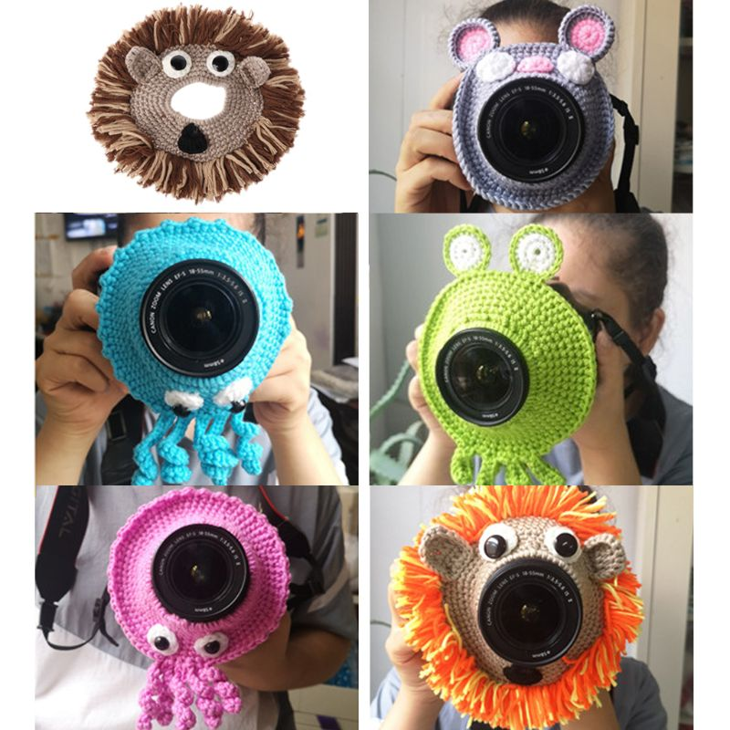 Animal Camera Buddies Lens Accessory For Child/Kid/Pet Photography Knitted Lion Octopus Teaser Toy Lens Posing Photo Props U50F