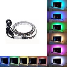 Гибкие светодиодные полосы света руководство по эксплуатации USB-самоклеящиеся автомобиля 5050 Сид RGB подсветки телевизора 5В водонепроницаемый 5/10/20/30/40/50 см многоцветный крытый