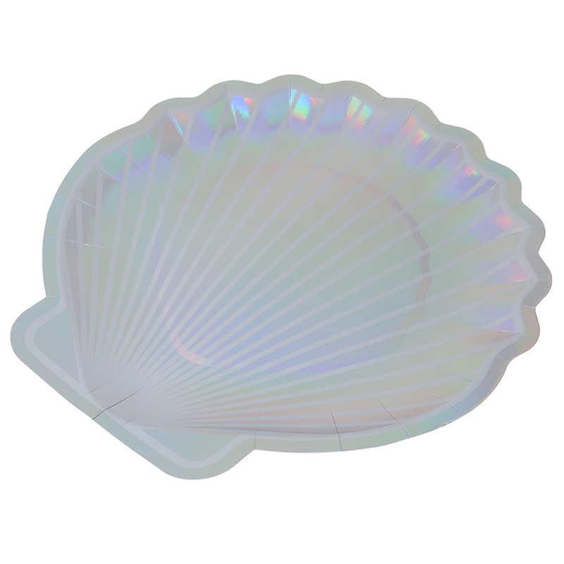 """8 adet 10 """"deniz kızı peri masalı festivali bebek duş düğün parti malzemeleri Sparkle Shell kağıt tabaklar parti çanak sofra"""