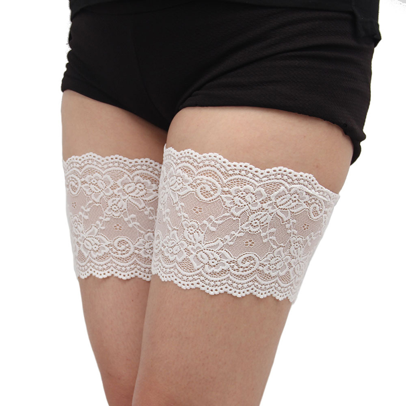 Anti Chafing Lace Flower Thigh Bands Sexy Leg Warmers Protect Anti Friction Thigh Women Socks Garter Cuffs With Phone Pocket